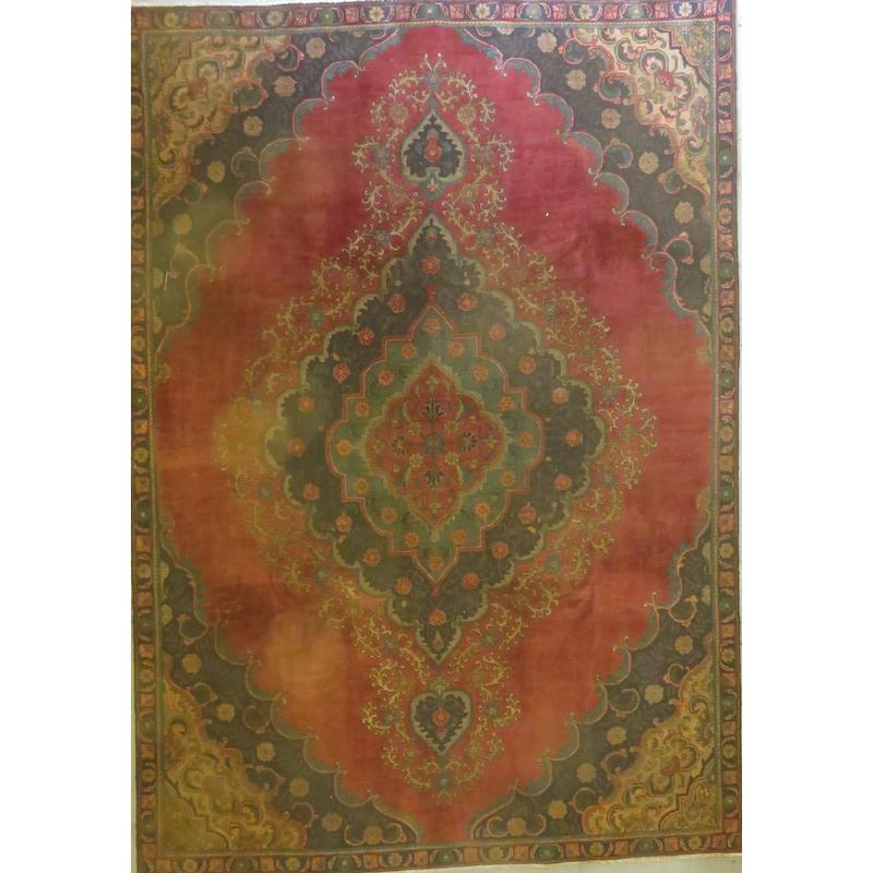 "Persian tabriz Authentic Hand-Knotted Traditonal Vintage Persian Rugs Natural Wool and Cotton Multicolor Area Rug  11'2""  X  7'7"" ABCR06743"