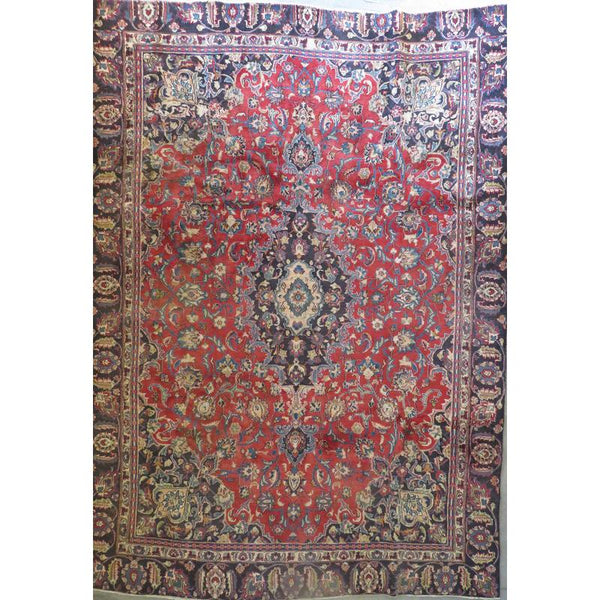 "Persian mashad Authentic Hand-Knotted Traditonal Vintage Persian Rugs Natural Wool and Cotton Multicolor Area Rug  10'6""  X  7'2"" ABCR06745"