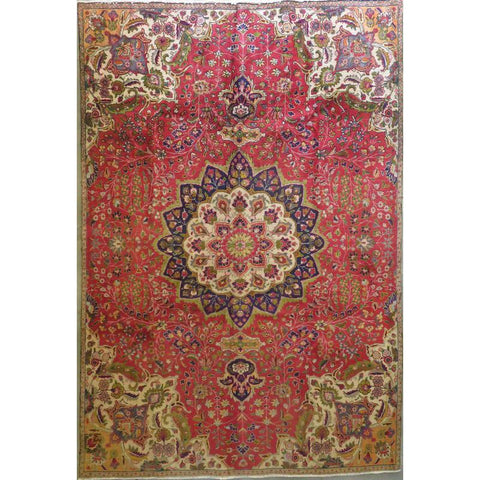 "Persian tabriz Authentic Hand-Knotted Traditonal Vintage Persian Rugs Natural Wool and Cotton Multicolor Area Rug  8'4""  X  5'2"" ABCR06746"