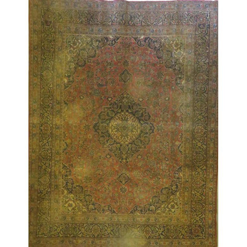 "Persian mashad Authentic Hand-Knotted Traditonal Vintage Persian Rugs Natural Wool and Cotton Multicolor Area Rug  8'6""  X  5'7""  ABCR06749"