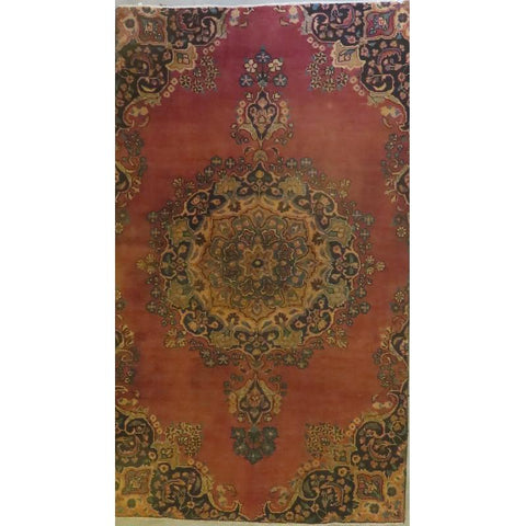"Persian mashad Authentic Hand-Knotted Traditonal Vintage Persian Rugs Natural Wool and Cotton Multicolor Area Rug  12'10""  X  9'7""  ABCR06750"