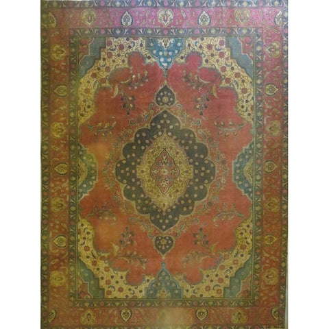 "Persian tabriz Authentic Hand-Knotted Traditonal Vintage Persian Rugs Natural Wool and Cotton Multicolor Area Rug  10'9""  X  7'7"" ABCR06752"