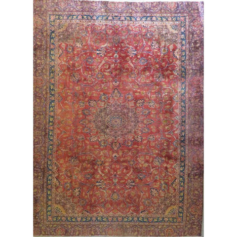 "Persian mashad Authentic Hand-Knotted Traditonal Vintage Persian Rugs Natural Wool and Cotton Multicolor Area Rug  10'2""  X  7'8""  ABCR06754"