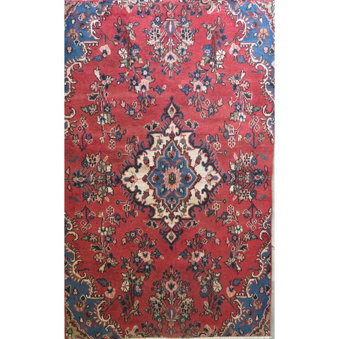 "Persian hamedan Authentic Hand-Knotted Traditonal Vintage Persian Rugs Natural Wool and Cotton Multicolor Area Rug  9'5""  X  6'1"" ABCR06755"