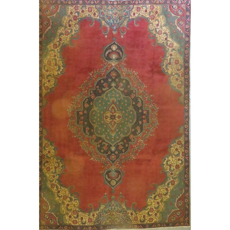 "Persian tabriz Authentic Hand-Knotted Traditonal Vintage Persian Rugs Natural Wool and Cotton Multicolor Area Rug  9'7""  X  5'9"" ABCR06756"