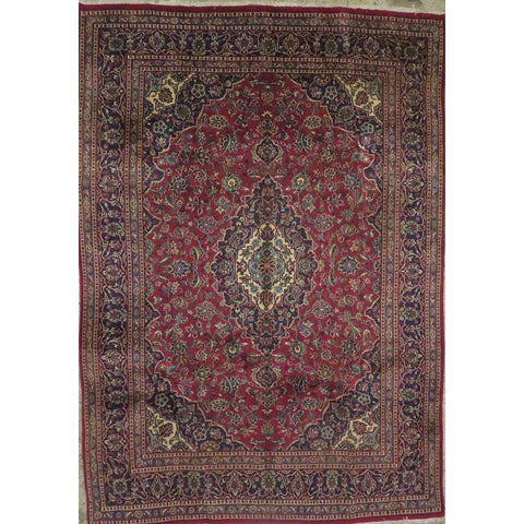 "Persian mashad Authentic Hand-Knotted Traditonal Vintage Persian Rugs Natural Wool and Cotton Multicolor Area Rug  12'2""  X  8'0""  ABCR06758"