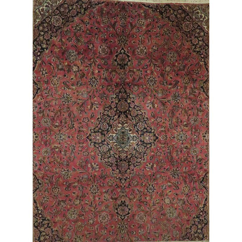 "Persian mashad Authentic Hand-Knotted Traditonal Vintage Persian Rugs Natural Wool and Cotton Multicolor Area Rug  12'2""  X  9'2""  ABCR06759"