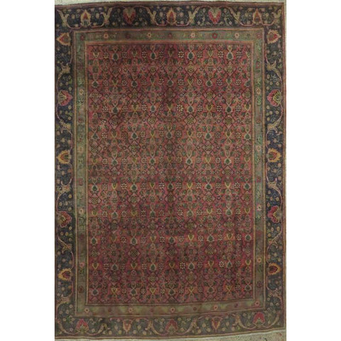 "Persian tabriz Authentic Hand-Knotted Traditonal Vintage Persian Rugs Natural Wool and Cotton Multicolor Area Rug  10'4""  X  7'5"" ABCR06763"