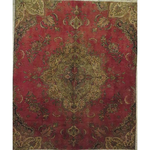 "Persian tabriz Authentic Hand-Knotted Traditonal Vintage Persian Rugs Natural Wool and Cotton Multicolor Area Rug  8'10""  X  6'1""  ABCR06765"