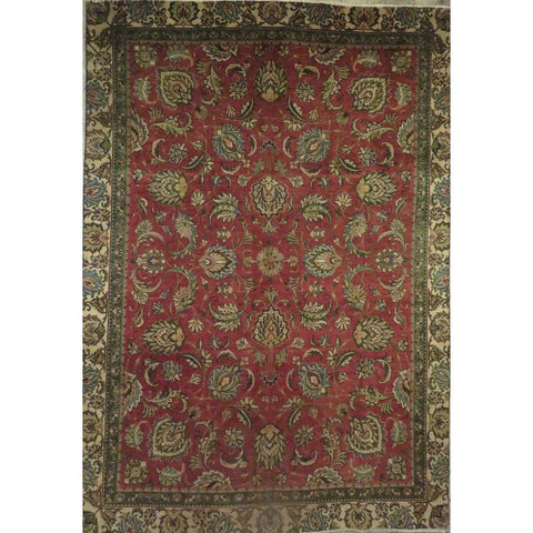 "Persian tabriz Authentic Hand-Knotted Traditonal Vintage Persian Rugs Natural Wool and Cotton Multicolor Area Rug  10'2""  X  6'11"" ABCR06768"