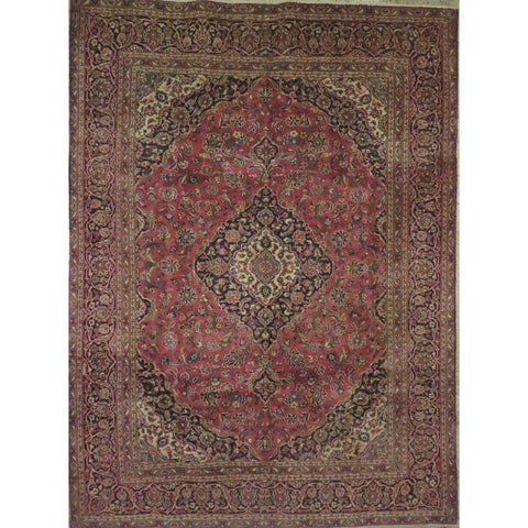 "Persian mashad Authentic Hand-Knotted Traditonal Vintage Persian Rugs Natural Wool and Cotton Multicolor Area Rug  11'10""  X  7'9""  ABCR06769"