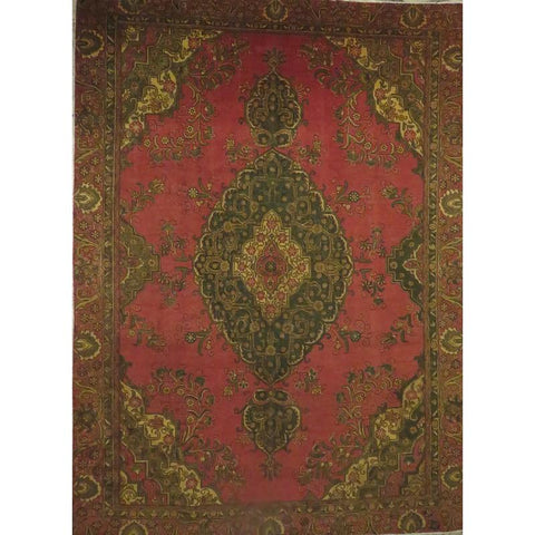 "Persian tabriz Authentic Hand-Knotted Traditonal Vintage Persian Rugs Natural Wool and Cotton Multicolor Area Rug  8'6""  X  6'11"" ABCR06775"
