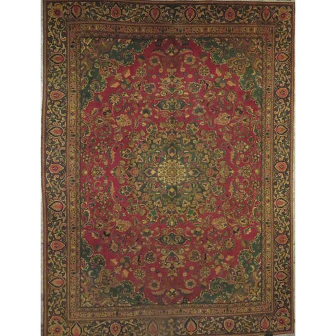 "Persian mashad Authentic Hand-Knotted Traditonal Vintage Persian Rugs Natural Wool and Cotton Multicolor Area Rug  8'2""  X  4'11""  ABCR06776"