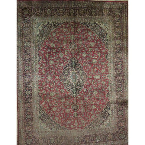 "Persian mashad Authentic Hand-Knotted Traditonal Vintage Persian Rugs Natural Wool and Cotton Multicolor Area Rug  13'1""  X  9'9""  ABCR06778"