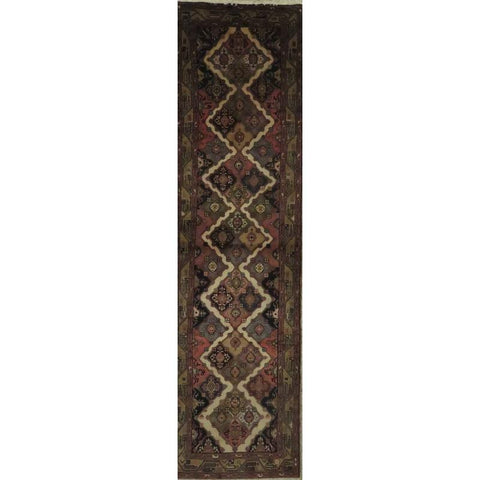 "Persian hamedan Authentic Hand-Knotted Traditonal Vintage Persian Rugs Natural Wool and Cotton Multicolor Area Rug  10'5"" X  2'6"" ABCR06781"