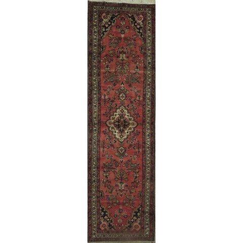 "Persian hamedan Authentic Hand-Knotted Traditonal Vintage Persian Rugs Natural Wool and Cotton Multicolor Area Rug  10'5"" X  2'6"" ABCR06783"