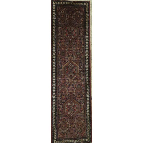 "Persian hamedan Authentic Hand-Knotted Traditonal Vintage Persian Rugs Natural Wool and Cotton Multicolor Area Rug  10'5"" X  2'6"" ABCR06785"