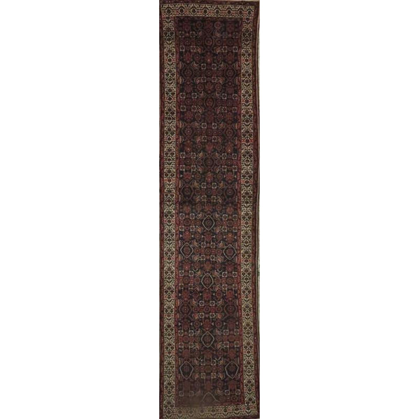 "Persian hamedan Authentic Hand-Knotted Traditonal Vintage Persian Rugs Natural Wool and Cotton Multicolor Area Rug  10'5"" X  2'6"" ABCR06786"