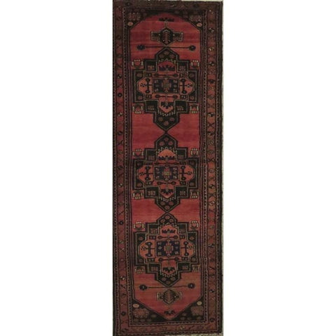 "Persian hamedan Authentic Hand-Knotted Traditonal Vintage Persian Rugs Natural Wool and Cotton Multicolor Area Rug  10'5"" X  2'6"" ABCR06788"