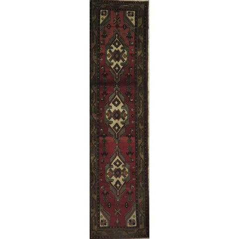 "Persian hamedan Authentic Hand-Knotted Traditonal Vintage Persian Rugs Natural Wool and Cotton Multicolor Area Rug  10'5"" X  2'6"" ABCR06790"