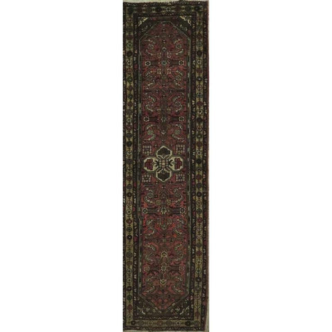 "Persian hamedan Authentic Hand-Knotted Traditonal Vintage Persian Rugs Natural Wool and Cotton Multicolor Area Rug  10'5"" X  2'6"" ABCR06793"