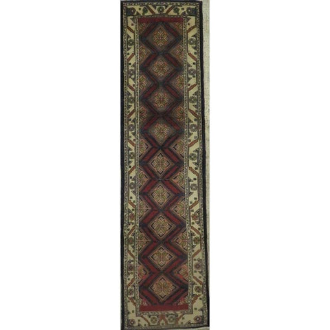 "Persian hamedan Authentic Hand-Knotted Traditonal Vintage Persian Rugs Natural Wool and Cotton Multicolor Area Rug  10'5"" X  2'6"" ABCR06794"
