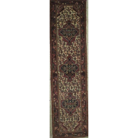 "Persian hamedan Authentic Hand-Knotted Traditonal Vintage Persian Rugs Natural Wool and Cotton Multicolor Area Rug  10'5"" X  2'6"" ABCR06797"