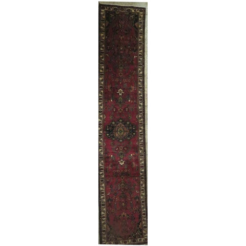 "Persian hamedan Authentic Hand-Knotted Traditonal Vintage Persian Rugs Natural Wool and Cotton Multicolor Area Rug  10'5"" X  2'6"" ABCR06799"
