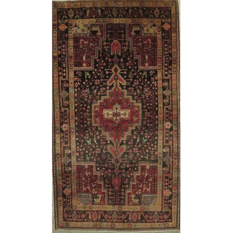 "Persian hamedan Authentic Hand-Knotted Traditonal Vintage Persian Rugs Natural Wool and Cotton Multicolor Area Rug  12'10""  X  2'7"" ABCR06801"