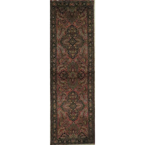 "Persian hamedan Authentic Hand-Knotted Traditonal Vintage Persian Rugs Natural Wool and Cotton Multicolor Area Rug  9'2""  X  2'9"" ABCR06803"