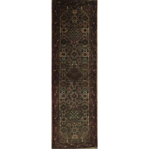 "Persian hamedan Authentic Hand-Knotted Traditonal Vintage Persian Rugs Natural Wool and Cotton Multicolor Area Rug  9'4""  X  2'5"" ABCR06804"