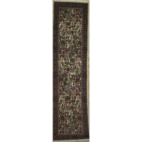 "Persian hamedan Authentic Hand-Knotted Traditonal Vintage Persian Rugs Natural Wool and Cotton Multicolor Area Rug  13'5""  X  2'7"" ABCR06805"