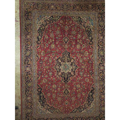 "Persian ardakan Authentic Hand-Knotted Traditonal Vintage Persian Rugs Natural Wool and Cotton Multicolor Area Rug  12'7""  X  9'11"" ABCR06813"