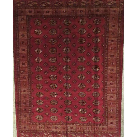 "Persian torkman Authentic Hand-Knotted Traditonal Vintage Persian Rugs Natural Wool and Cotton Multicolor Area Rug  13'7""  X  9'8""  ABCR06820"