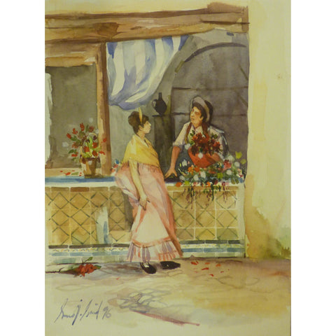 "Spanish Watercolor Painting Said Ramil Canvas Ready to Hang for Home Wall Art Decoration  13""  X  9"" ABCP-217"