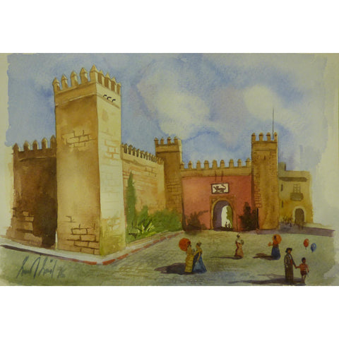 "Spanish Watercolor Painting Said Ramil Canvas Ready to Hang for Home Wall Art Decoration  13""  X  9"" ABCP-218"