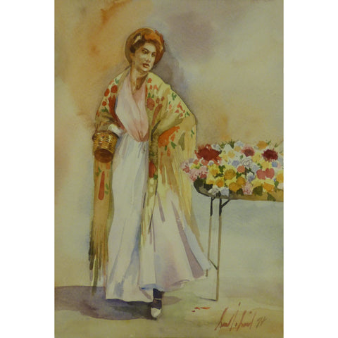 "Spanish Watercolor Painting Said Ramil Canvas Ready to Hang for Home Wall Art Decoration  13""  X  9"" ABCP-219"