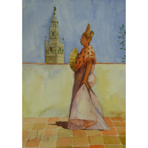 "Spanish Watercolor Painting Said Ramil Canvas Ready to Hang for Home Wall Art Decoration  13""  X  9"" ABCP-223"