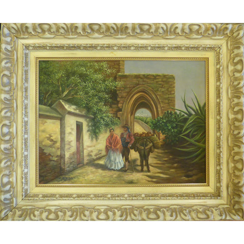 "Spanish Oil Painting by Ba. Alboano Ready to Hang for Home Wall Art Decoration  37""  X  31"" ABCP-267"