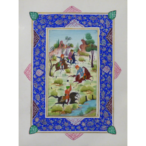 "Persian Miniature Handmade with Unique Design and Colorful Authentic ART  7""  X  9.5"" ABCPM0108"