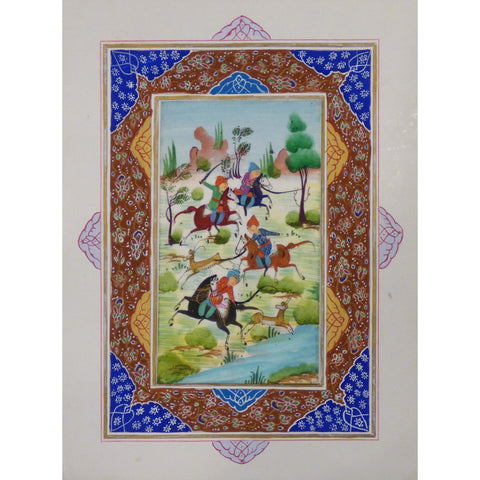 "Persian Miniature Handmade with Unique Design and Colorful Authentic ART  7""  X  9.5"" ABCPM0119"