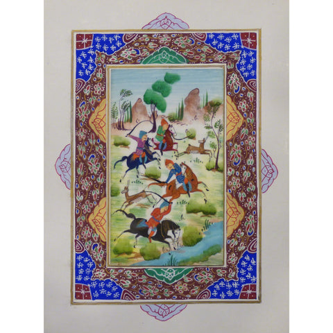 "Persian Miniature Handmade with Unique Design and Colorful Authentic ART  7""  X  9.5"" ABCPM0129"