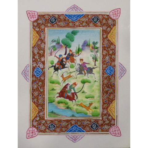 "Persian Miniature Handmade with Unique Design and Colorful Authentic ART  7""  X  9.5"" ABCPM0134"