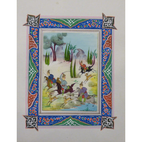 "Persian Miniature Handmade with Unique Design and Colorful Authentic ART  7""  X  9.5"" ABCPM0140"