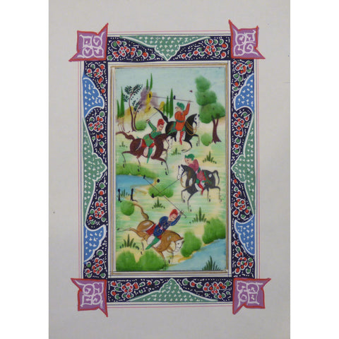 "Persian Miniature Handmade with Unique Design and Colorful Authentic ART  7""  X  9.5"" ABCPM0143"