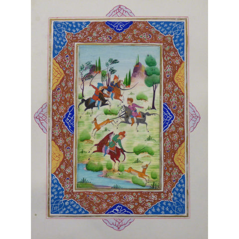 "Persian Miniature Handmade with Unique Design and Colorful Authentic ART  7""  X  9.5"" ABCPM0148"