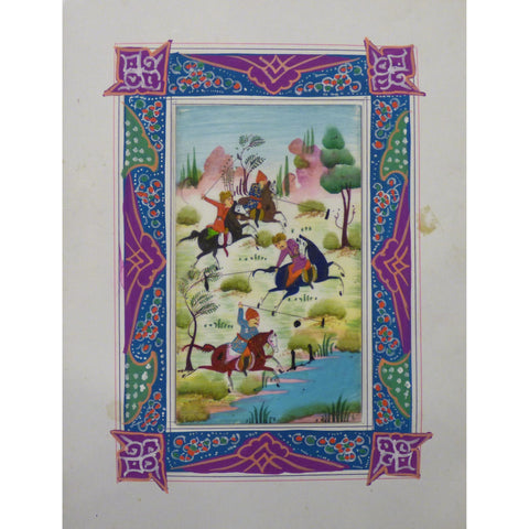 "Persian Miniature Handmade with Unique Design and Colorful Authentic ART  7""  X  9.5"" ABCPM0152"