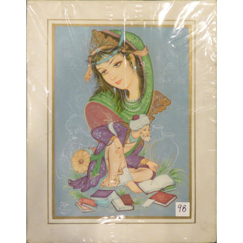 "Persian Miniature Fine Art Handmade Painting Ready to Hang for Home Wall Art Decoration  14""  X  18"" ABCPM0251"