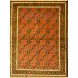 "Unique Super Soft and multi red color Hand-Knotted Afghani Modern Area Rug Made with Natural New Zealand Wools, Amp and Cotton  4'3""  X  2'11"" ABCR04520"