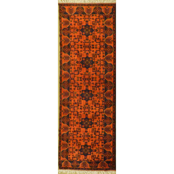 "Unique Super Soft and multi red color Hand-Knotted Afghani Modern Area Rug Made with Natural New Zealand Wools, Amp and Cotton  10'5""  X  2'9"" ABCR04524"